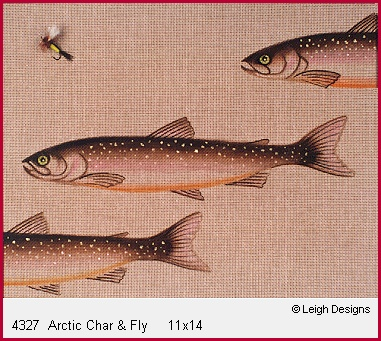 click here to view larger image of Arctic Char & Fly (hand painted canvases)