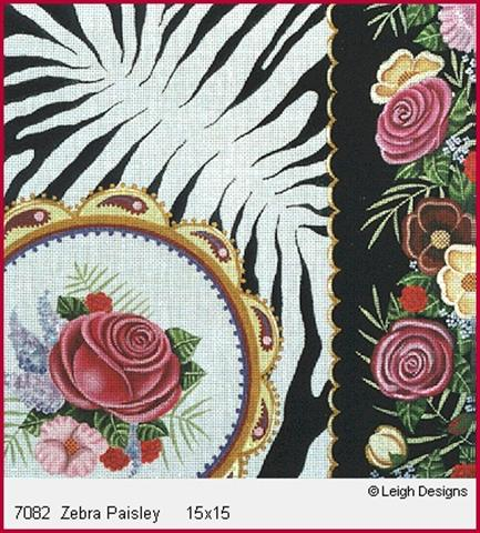 click here to view larger image of Zebra Paisley (hand painted canvases)