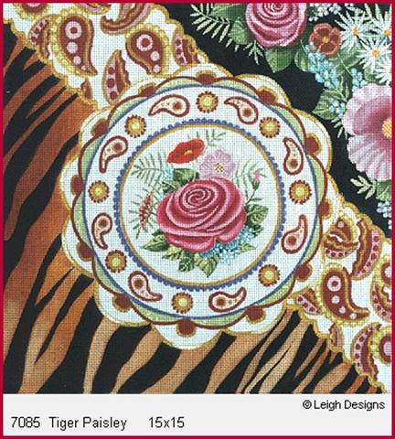 click here to view larger image of Tiger Paisley (hand painted canvases)