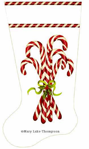 click here to view larger image of Candy Cane Sock (hand painted canvases)