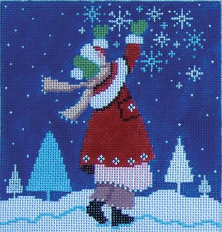 click here to view larger image of Catching Snowflakes (hand painted canvases)