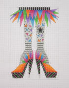 click here to view larger image of Happy Legs/Funky Skirt/High heels (hand painted canvases)