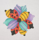 click here to view larger image of Flower Abstract/LadyBug and Bumble Bee (hand painted canvases)