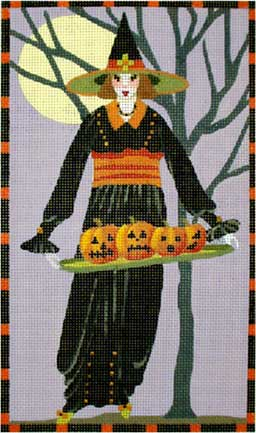 click here to view larger image of Witch with Pumpkin Tray (hand painted canvases)