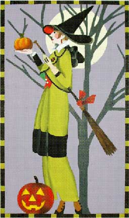 Witch with Broom and Little Pumpkin hand painted canvases
