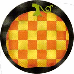 click here to view larger image of Fancy Pumpkins - Gold & Orange Checks (hand painted canvases)