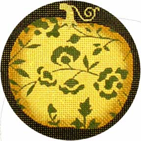 click here to view larger image of Fancy Pumpkins - Gold Vine (hand painted canvases)
