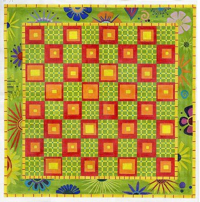click here to view larger image of Border Garden Game Board - 18ct (hand painted canvases)
