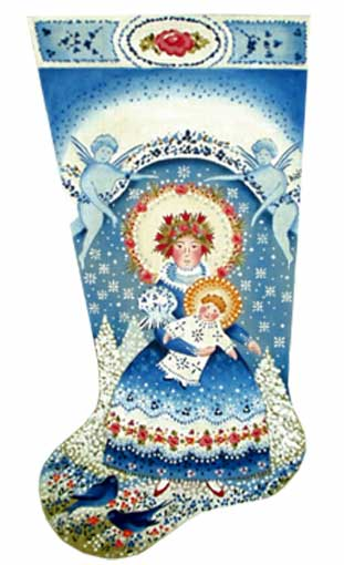 click here to view larger image of Winter Madonna Stocking (hand painted canvases)
