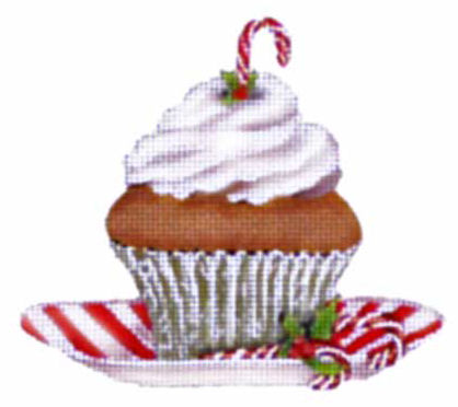 click here to view larger image of Candy Cane Cupcake (hand painted canvases)