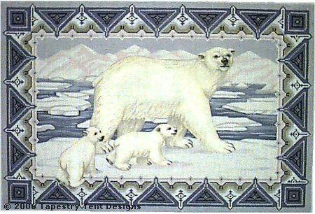 click here to view larger image of Polar Bear and Cubs (hand painted canvases)