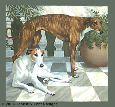 click here to view larger image of Courtyard Greyhound Pillow (hand painted canvases)