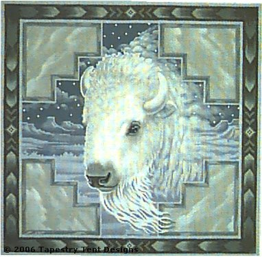 click here to view larger image of White Buffalo Pillow (hand painted canvases)