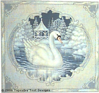 click here to view larger image of Swan Pillow - 18ct (hand painted canvases)