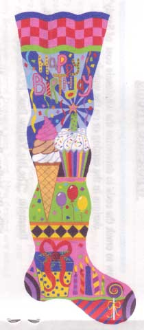 click here to view larger image of Happy Birthday Stocking, The (hand painted canvases)