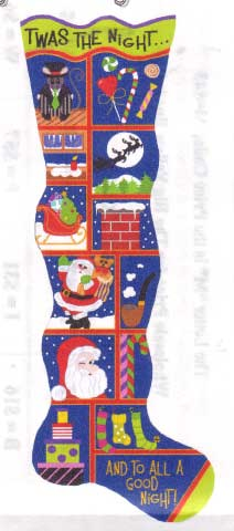 click here to view larger image of Twas The Night Before Christmas Stocking, The (hand painted canvases)