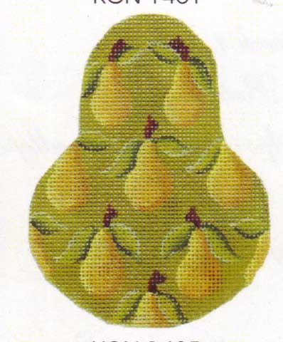 click here to view larger image of Yellow Bartlett  Pear Ornament (hand painted canvases)
