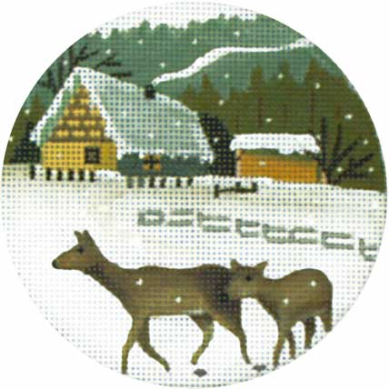 click here to view larger image of Cottage Deer Ornament (hand painted canvases)