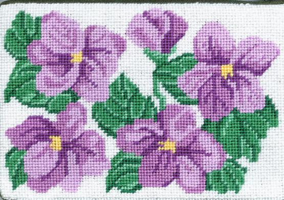 click here to view larger image of Sweet Violets Cosmetic Case (needlepoint kits)