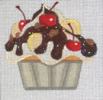 click here to view larger image of Cherry Chocolate Banana Cupcake (hand painted canvases)