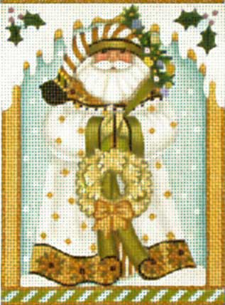 click here to view larger image of Golden Santa Ornament (hand painted canvases)