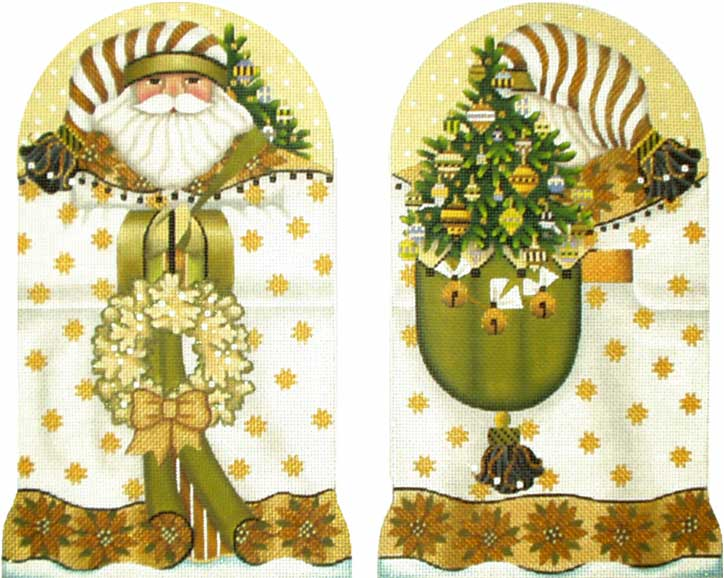 click here to view larger image of Golden Santa (2 sided) (hand painted canvases)