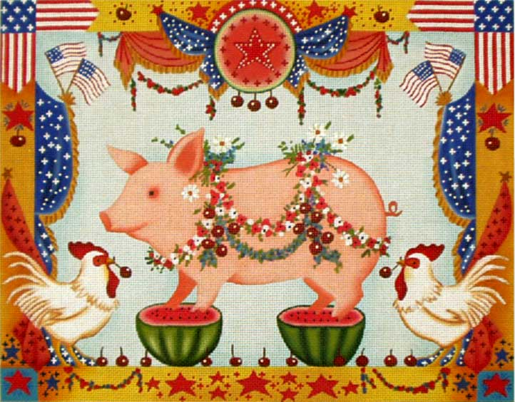 4th of July Pig hand painted canvases