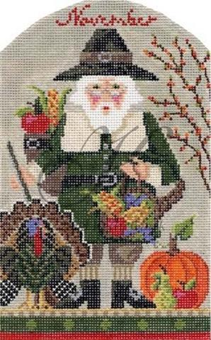 click here to view larger image of November Thanksgiving Santa Stitch Guide (books)