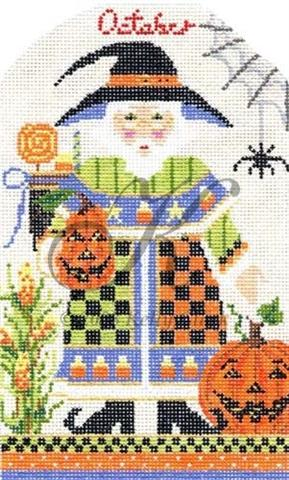click here to view larger image of October Wizards Halloween Santa Stitch Guide (books)