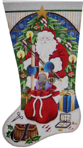 click here to view larger image of Fishing Christmas Stocking - 18ct mesh (hand painted canvases)