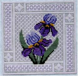 Crystal Irises counted canvas work