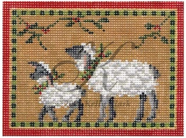 click here to view larger image of Christmas Lamb and Mama - 18 mesh (hand painted canvases)