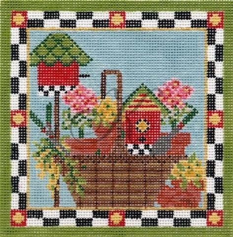 click here to view larger image of June Gardening Basket (hand painted canvases)