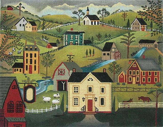 click here to view larger image of Village Scene (hand painted canvases)