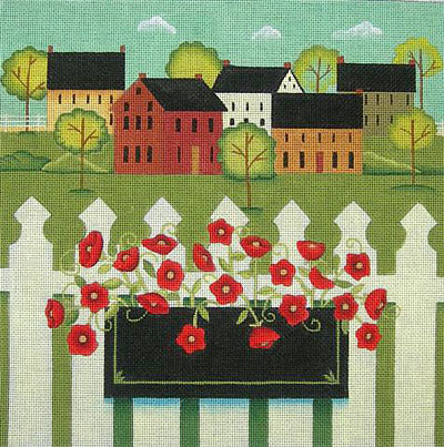 click here to view larger image of Town With Flower Box (hand painted canvases)