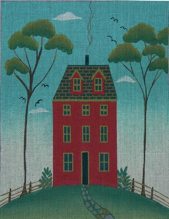 click here to view larger image of Tall Red House (hand painted canvases)