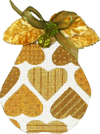 click here to view larger image of Golden Pears - Hearts (Velvet Leaves included) (hand painted canvases)