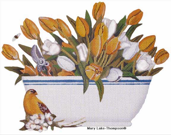 click here to view larger image of Yellow Tulip - Bowls (hand painted canvases)