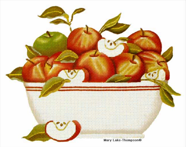 click here to view larger image of Apple Bowl (hand painted canvases)