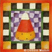 click here to view larger image of Candy Corn - Halloween Square (hand painted canvases)