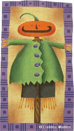 click here to view larger image of Pumpkin Head Scarecrow Halloween Tile (hand painted canvases)