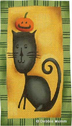 click here to view larger image of Black Cat Pumpkin Head (hand painted canvases)