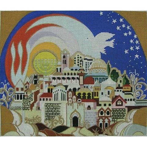 click here to view larger image of Jerusalem in the Sky Taleis Bag (hand painted canvases)