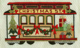 click here to view larger image of Christmas Cable Car (hand painted canvases)