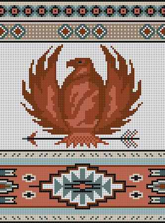 click here to view larger image of Eagle With Patterns Rug (hand painted canvases)