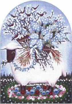 click here to view larger image of Birds Sheep - Lilac (hand painted canvases)