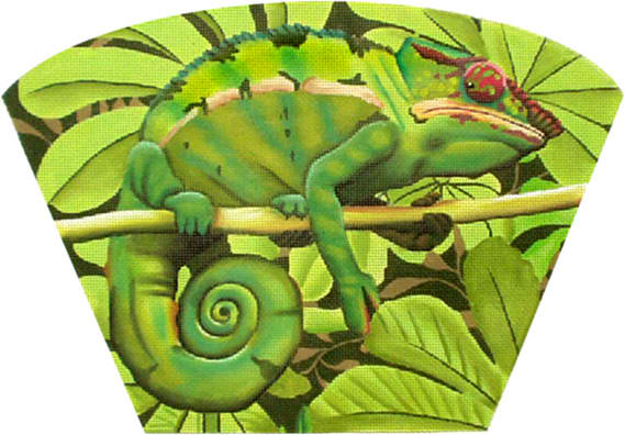 click here to view larger image of Chameleon Fan Purse (hand painted canvases)