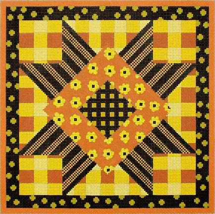 click here to view larger image of Black and Yellow Patchwork - Plaid (hand painted canvases)