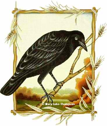 click here to view larger image of Crow with Wheat (hand painted canvases)