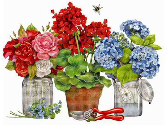 click here to view larger image of Summer Flowers (hand painted canvases)